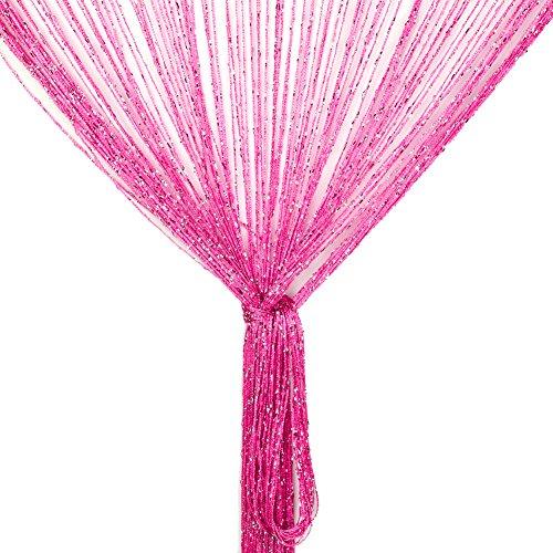 Vidillo Fadenvorhang, Fadenvorhang Glitzer Weiss 100 x 200 cm Wandvorhang Schaufensterdekoration, Dekorative Gardine Raumteiler Fliegenschutz für Hochzeit, Café, Restaurant (Rose rot)