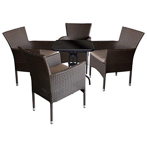 5tlg. Sitzgruppe Gartengarnitur Gartenmöbel Balkonmöbel Terrassenmöbel Campingmöbel Set - Bistrotisch, 60x60xH71cm, schwarze undurchsichtige Tischglasplatte + 4 Gartensessel, Poly-Rattan, stapelbar, braun-meliert inkl. Kissen