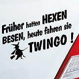 Auto Aufkleber in deiner Wunschfarbe Früher Hatten Hexen Besen Heute Fahren Sie für Twingo Fans 19x10 cm Sticker