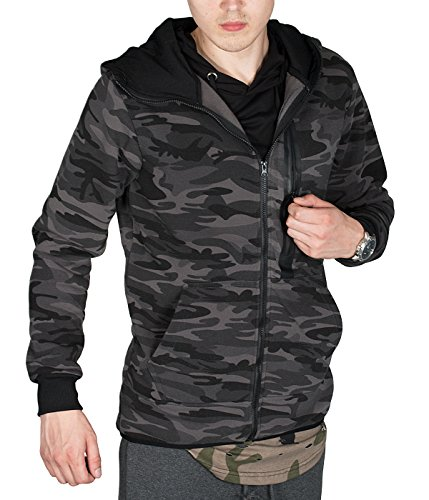 BetterStylz WhitefishBZ Herren Regular Fit Kapuzen Jacke Zip Übergangsjacke Hooded Camouflage in 2 Farben