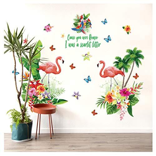 Kuke Wandtattoo Flamingo Muster Abnehmbare DIY Wand-Aufkleber Wandsticker für Sofa TV Hintergrund Kinderzimmer Schlafzimmer (120 * 90 cm) -