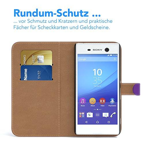 Sony Xperia M5 Hülle - EAZY CASE Premium Flip Case Handyhülle - Schutzhülle aus Leder in Schwarz Lila (Book)