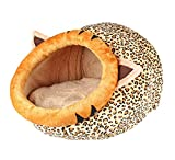 Jaimelavie Katzenhöhle Hundebett, Hundekörbchen Perfekte Kuschelhöhle für kleine Hunde Katzen Ideale Korb Höhle für Drinnen Bestens als Katzenkorb, Katzenbettchen zum Schlafen, Leopard, 33*35*26cm