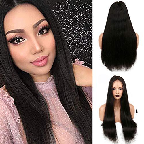 KINYNE Cheveux Vierges Full Lace Wig Perruques De Cheveux Raides Brésiliens De Cheveux Humains pour Les Femmes 130% De Densité 10-26 Pouces Couleur Naturelle en Option,14Inch