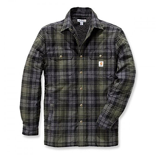 flanell jacke herren Carhartt .102333.316.S006 Shirt-Jacke Hubbard, gefüttert mit Sherpa-Fleece, Farbe:Moosgrün, Größe:L