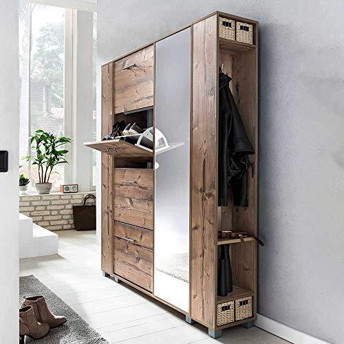Pharao24 Garderoben Kombination in Fichte Grau Nachbildung Spiegeltür