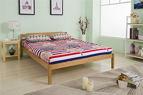 YAKOE Solid Pine Frame with Slats Bed Furniture, Oak, Double