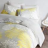 SCM Bettwäsche 200x200cm Grau Gelb Mikrofaser 3-teilig Bettbezug Kissenbezüge 80x80cm Blumen Enya