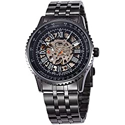 Alienwork Automatic Watch Self-winding Skeleton Mechanical Metal black black W9500-01