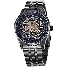 Alienwork Reloj Automático esqueleto mecánico relojes hombre Diseño moda Metal negro W9500-01