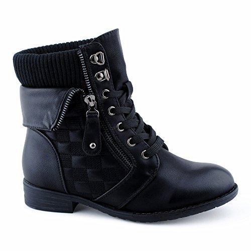 Damen Stiefeletten Schnür Stiefel Schnalle Reißverschluss Strick Blockabsatz Muster Biker Boots Schuhe Schwarz