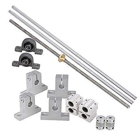 CNBTR Horizontale 2mm Blei Schraube & L400mm Welle Optische Achse & Kissen Block Bearings Slide Block mit Dual Rail Shaft Support & Flexible Shaft Coupling Pack von 15