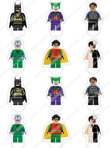 Image of Cakeshop 12 x PRE-CUT Lego Batman Stand Up Edible Cake Toppers