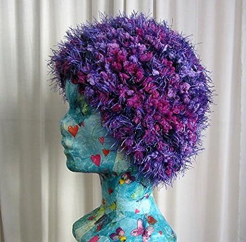 Bonnet classique violet chiné tricoté à la main