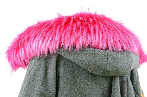 Jeracol Waschbär Pelzkragen Großer abnehmbarer Pelz Schal Trim für Mantel oder Kapuzenränder,Stieg Rot Größe 75*15CM (Kapuze Faux Pelz Jacke)
