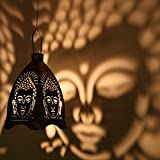 eCraftIndia Iron Buddha Hanging Light Holder (10 cm x 10 cm x 11.98 cm, Black and Silver)