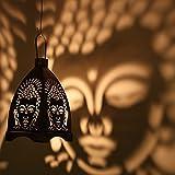 #5: eCraftIndia Iron Buddha Hanging Light Holder (10 cm x 10 cm x 11.98 cm, Black and Silver)