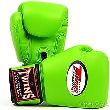 Twins Special - Guantes de boxeo de piel con cierres de velcro, color verde verde verde Talla:10 oz.