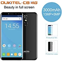 OUKITEL C8 Smartphone Libre (Versión 4G),5.5 Pulgada Android 7.0 MTK6850A Quad Core 2GB RAM 16GB ROM Cámara Frontal 2.0MP Cámara Trasera 8.0MP Escáner de Huellas Digitales SIM Dual (Negro)