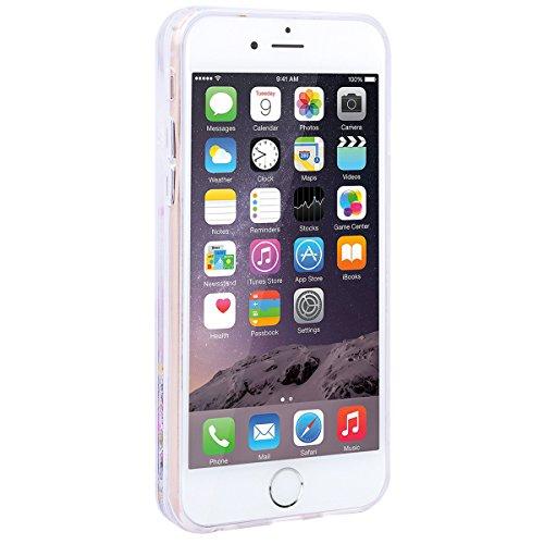 SMART LEGEND iPhone 6/iPhone 6S Hülle Glitzer Hardcase Flüssige Fließend Bling Liquid Treibsand Weiche Silikon Bumper & PC Hart Rückseite Hartschale Schutzhülle Transparent Hülle Stern Kreativ Handyhü Bunt