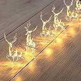 DecoKing 46999 10er LED-Lichterkette auf silbernem Draht Hirsche warmes Weiß statisch batteriebetrieben LED-Girlande Weihnachtsdeko Weihnachtsdekoration Weihnachtsschmuck Weihnachten Reindeer