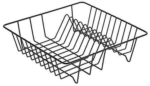 axentia Geschirrabtropfkorb - Abtropfgitter aus Draht - Geschirrständer mit Kunststoffüberzug schwarz - Geschirrkorb 34 x 34 x 11 cm - Abtropfgestell für Teller und Besteck - Küchenhelfer