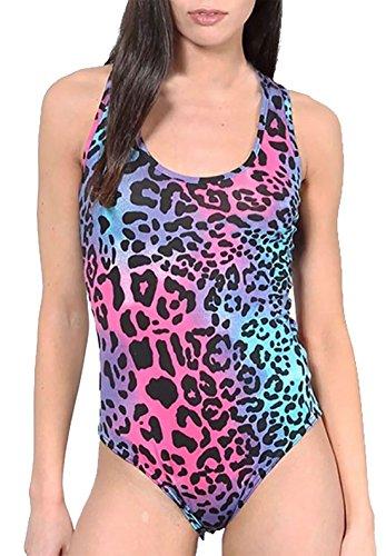Sleevless Neon Animal Print Leotard - Sizes 8 to 14