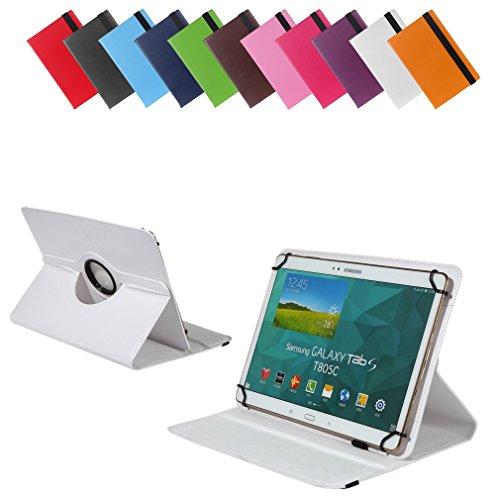 Universal Rotation-Tasche für verschiedene Tablet Modelle (9 / 10 / 10.1 Zoll, Weiß) Größe Schutz Case Hülle Cover, 360° drehbar, vertikal und horizontal aufstellbar, mit Gummibandverschluss