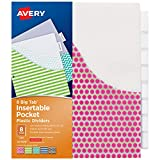 Avery Big Tab Insertable Plastic Dividers with Pockets, 8 Tabs, 1 Set, Assorted
