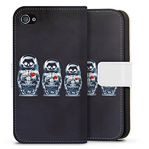 Apple iPhone X Silikon Hülle Case Schutzhülle Bones Skull Totenkopf Sideflip Tasche weiß