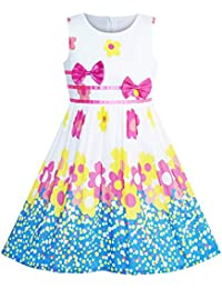134237d4c Sunny Fashion Vestido para niña Morado Rosa Flor Doble Corbata de moño  Fiesta niños Sol 4