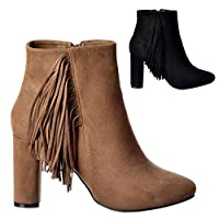 Onlineshoe Tassel and Fringe Suede Block Heeled Ankle Boot