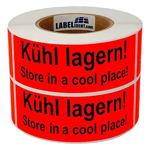 Labelident Warnetiketten (150 x 50 mm) - Kühl lagern! Store in a cool place! - 1000 Versandaufkleber auf Rolle, Papier leuchtrot, permanent haftend