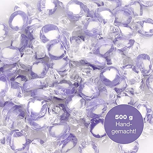 WeddingTree Herzbonbons Flieder - 500g Rocks Bonbons handgewickelte Süßigkeiten Großpackung - Tischdeko zu Hochzeit Taufe Valentinstag Muttertag Kommunion