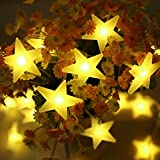 Lichterkette | Lichterkette innen | infinitoo 30er Sterne LED Lichterkette Batteriebetrieben Warmweiß Lichterkette für Zimmer, Tisch, Innenbeleuchtung, Hochzeit, Party, Weihnachten und Haus Deko