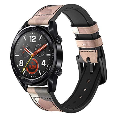 WAOTIER für Huawei Watch GT Armband Leder Armband mit Schwarzem Edelstahl Verschluss Armband für Huawei Watch GT Classic Eleganter Ersatzarmband für Frauen Männer Minimalistischer Armbandd (Rosa)