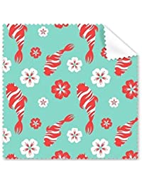 Andre Japón Cultura Estilo japonés Azul Rojo Blanco Carpa Sakura Repetir Ilustración Patrón Gafas Paño Limpieza