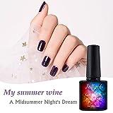 10ml Gel Couleurs à ongles semi-permanent Gel Violet Violet de raisin, Gloss estelado étoiles d'été, joligel Vernis en Gel pour manucure pédicure UV LED sain sans odeur étrange, Soak Off, Violet