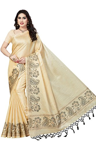 Rani Saahiba Art Silk Saree with Blouse Piece (SKR3929_Beige_one size)