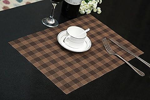 Set de table Plastifié Petite grille brun PVC Placemats Dining Table Sets Clest F&H Résistant à la Chaleur (Set of 2 pcs)