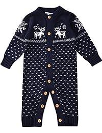 e637fffc68 Zoerea Unisex Neugeborenes Baby Strick Strampler Lange Ärmel Watte  Weihnachten warme Pullover mit Elch Hirsche Schneeflocke Muster…