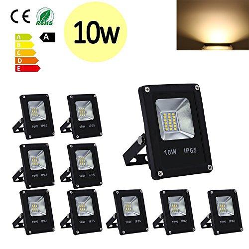 Hengda® 10x 10W SMD LED Strahler Fluter IP65 Flutlicht Leuchtmittel Scheinwerfer Warmweiß Wandstrahler Außenstahler Leuchtmittel 85-260V AC