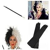 Cruella De Ville Lange Handschuhe Schwarz Weiß Perücke Zigarettenspitze Fancy Kleid K1
