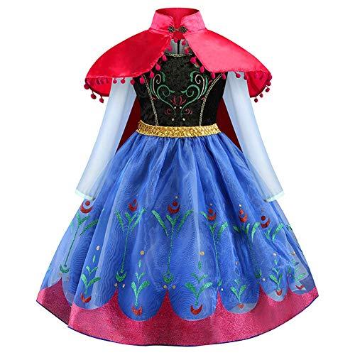 OBEEII Mädchen Anna ELSA Prinzessin Kostüm Eiskönigin Frozen Kleid Schneekönigin Umhang Prinzessinnenkleid Kinder Festlich Karneval Cosplay Party Halloween Festkleid 5-6 Jahre
