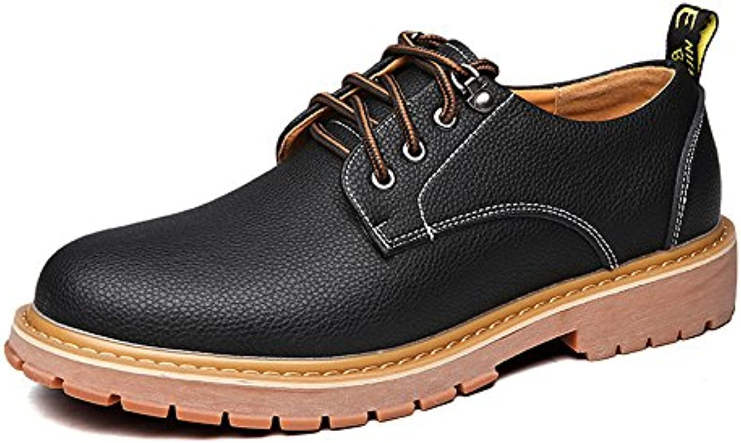 Jiuyue shoes  Sommer 2018 Herren Arbeitsschuhe PU Leder Casual Lace up Soft Outsole Wohnungen (Color : Schwarz