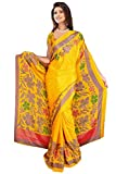 DesiButik's Lovely Yellow Crepe Saree wi...