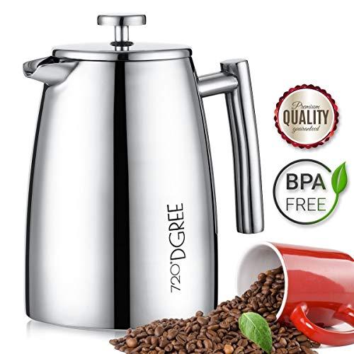 """French Press """"FRENCH SUNRISE"""" 950ml von 720°DGREE - DER Premium Kaffeebereiter aus Edelstahl mit permanent Filter / Sieb"""