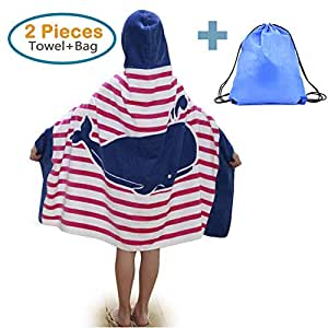 86fce83237 100% Cotton Kids Hooded Beach Bath Towel and Bag Set Large Poncho ...