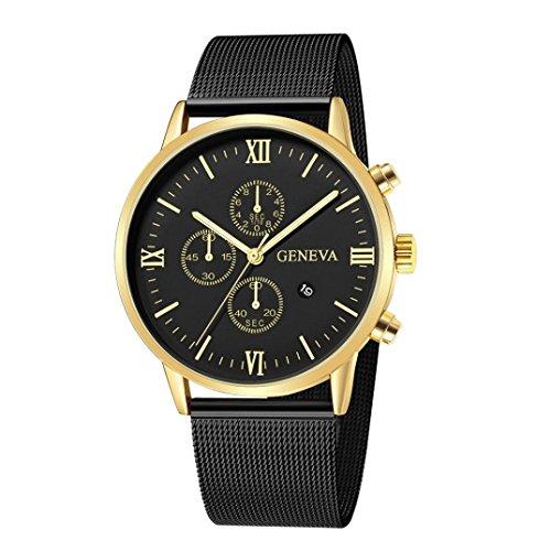 LCLrute 2018 Männer-Luxusmode-zufällige Echte Lederne analoge Uhr-Sport-Uhr-Armbanduhr (E)