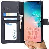 Abacus24-7 Custodia Samsung Galaxy S10 Plus Bookstyle Portafoglio Flip Cover con Chiusura Magnetica, Sopporto Pieghevole e Tasche Interne per Carte di Credito o d'identita [Nero]